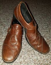 Joseph Seibel Womens Leather Comfort Brown Mid Heel Buckle Loafers Size 41, 10M