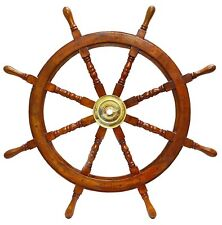 "36""Nautical Wooden Ship Steering Wheel Pirate Decor Wood Brass Fishing Wall Boat"