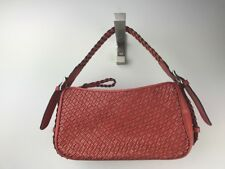 TALBOTS Salmon Pink Woven Leather SHOULDER BAG PURSE BRAIDED STRAP Perfect