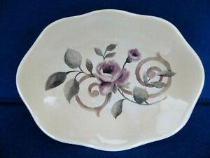 "CROSCILL CHAMBORD CASSIS Ceramic SOAP DISH Amethyst / Purple Floral  6"" x 4.5"""