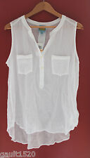 NWT C & C California White Airy Cotton Sleeveless Button Down Shirt Top S $78