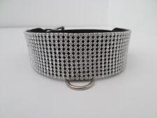 bdsm diamante rhinestone mesh  fetish bondage collar 40mm wide lockable silver