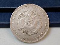 1890-1908 CHINA KWANG TUNG PROVINCE 7 MACE AN 2 CANDAREENS SILVER DOLLAR COIN