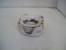 Vintage Napco  Japan Antique Cars 4pc Set With Caddy Small Ashtrays Free G4