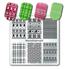 Nail Art Stamping Plates Image Plate CHRISTMAS Tree Snowflakes Knitted Star BB05