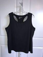 Chico's Zenergy Black Tank Top Size 3 16 18 XL Mesh Back Workout Yoga Shirt