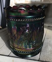 LG Wright Carnival Glass Storks and Rushes Beaded Sugar Bowl Amethyst Iridescent