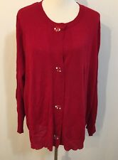 Avenue plus size cardigan sweater 22/24 Rhinestone Buttons Red Long Sleeve 3X