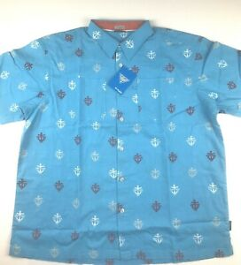 Columbia PFG Mens XL Blue Harborside Nautical Print S/S Linen Camp Shirt NWT