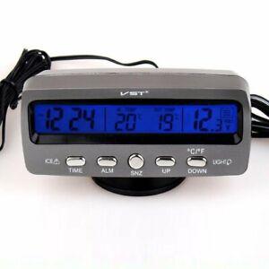 Digital LED Electronic Clock Time + Thermometer + Voltmeter for 12V/24V Car #7