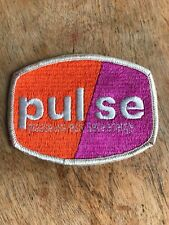 """Vtg PULSE Sew On Patch 4"""" Embroidered Badge Please Use Less Save Energy Conserve"""