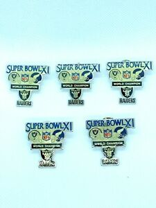 Lot of 5 Super Bowl XI World Champion Raiders Lapel Pins1977 Collectible