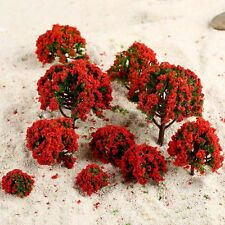 10Pcs Red Flower Model Trees Train Railroad Layout Scenery 3cm-8cm HO N Z Scale