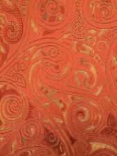 Velour Gold Orange floral Pattern Upholstery Fabric Material 140cm wide No.170