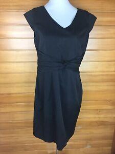 Grace Hill Black Shift Work Dress With Waist Pleats Cap Sleeves Size 14 EUC