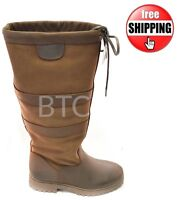 WOMENS NEW LADIES HORSE RIDING WATERPROOF LEATHER COUNTRY YARD BOOT SIZE 3-8