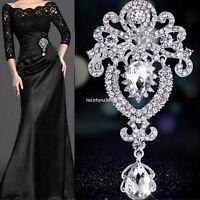Bridal Large Flower Beauty Brooch Rhinestone Crystal Diamante Silver Broach Pin