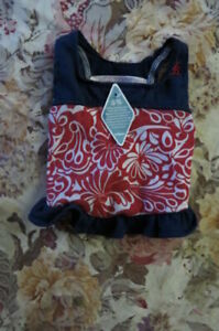 NEW, ADORABLE TOMMY BAHAMA DK BLUE & RED/WHITE FLORAL PRINT DOGGIE DRESS SZ XSM