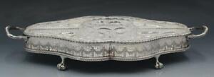 C1930s Viner's of Sheffield Silver Plate & Crystal Crudité Tray Serving Platter