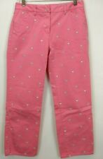 J Crew Womens Favorite Fit Crop Pants Size 2 Ankle Pink Embroidered Martinis