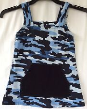Home Sewn Girls Size 6 Cotton Drill Blue CAMO Print Pinafore Top
