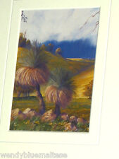 Blackboys or Grass Trees by Pam Barbour Mounted in Card Ready to Frame 7.5x11cm
