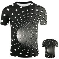 Men Women Short Sleeve Tee Tops 3D Swirl Print Optical illusion Hypnosis T-Shirt