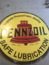 "Pennzoil Motor Oil Embossed Rustic Logo 12"" Metal Tin Sign Garage Vintage New"
