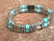 Men's Women's Western Silver Magnetic Bracelet Anklet w Chalk Turquoise