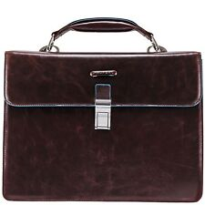 Piquadro Blue Square Brown Briefcase with two gussets CA1152B2/MO
