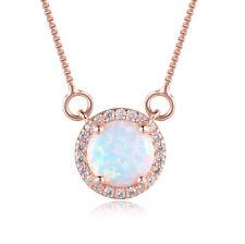 Women White Swarovski Crystal Circle Blue Opal Rose Gold Filled Pendant Necklace