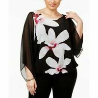Alfani Women's Plus Size Printed Angel-Sleeve Black Flower Trail Top, Size 0X