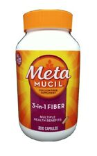 Metamucil Fiber 3-in-1 Psyllium Capsule Fiber Supplement 300 Ct Exp 9/23 #4870