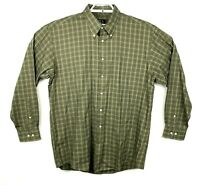 Jos A Bank Mens Size Large Green Plaid Button Up Long Sleeve Shirt