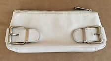 Banana Republic leather clutch zipper bag purse makeup storage wallet ivory