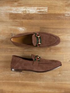 $830 GUCCI brown suede stomped heel horsebit Web loafers shoes - 9.5 US / 8.5 UK