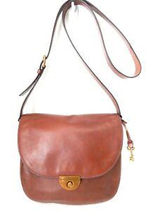 Nex2Nu! FOSSIL EMI LARGE Saddle Bag WHISKEY BROWN leather w/brass HW Crossbody