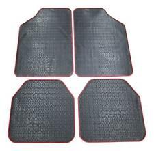 4x Gummi Fußmatten Gummifußmatten HOHER RAND Autoteppich VORN HINTEN Schwarz Rot