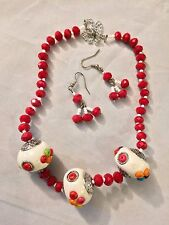 White Clay Beads Red Crystal Beaded  Necklace & Earring Set