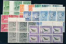 ADEN 1953 DEFINITIVES SG48/63 BLOCKS OF 4 MNH