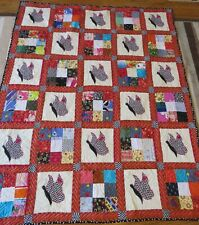 "New Usa Made Twin Size Quilt -Appliqued Butterflies - Red & Black 58"" x 73"""