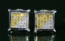 Mens/Ladies Cannary 4 Prong Pave Diamond Earring 7 Mm