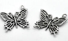 10 x FILIGREE BUTTERFLY CHARMS - 20 x 20mm - SILVER TONE -FREE  SAME DAY POSTAGE
