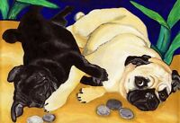BIG 13x19 FAWN BLACK PUG PLAY Dog Pugs Art PRINT  VERN
