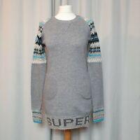 SUPERDRY LUXE APRES SKI Grey Blue Jumper Dress (Size XS/UK 8) Knit Jersey pocket