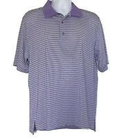 Footjoy FJ Mens Size Large Short Sleeve Polo Golf Shirt Purple White Striped