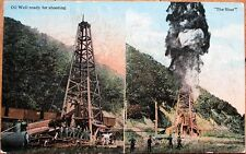 Oil City, PA 1910 Postcard: Well Ready for Shooting & The Shot - Pennsylvania
