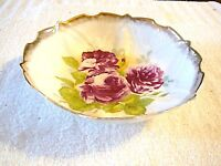 """Large 10 1/2"""" Antique German Scallop Ruffle Rose Floral Gold Trim Bowl Germany"""