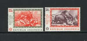 Indonesia 1967 FOREST FIRE BY SALEH, FIGHT TO DEATH BY SALEH SC 730-731 VFU