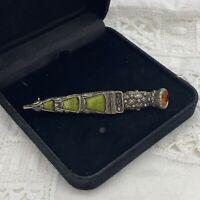 VINTAGE Celtic Dagger Long Brooch Collar Lapel Sash Kilt Pin Scot Green Stone